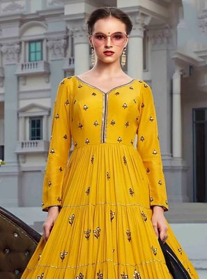 Digital Print Faux Georgette Trendy Gown