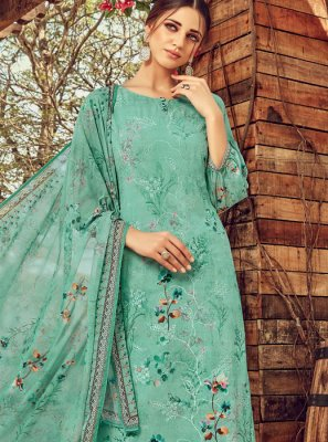 Digital Print Firozi Faux Georgette Trendy Palazzo Suit