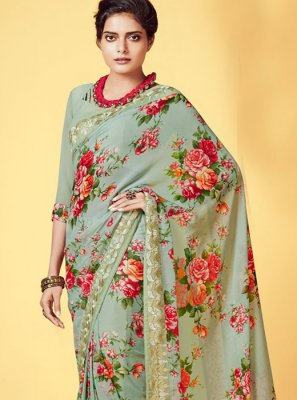 Digital Print Georgette Casual Saree in Green