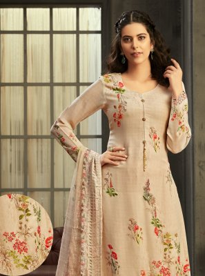 Digital Print Georgette Peach Salwar Kameez