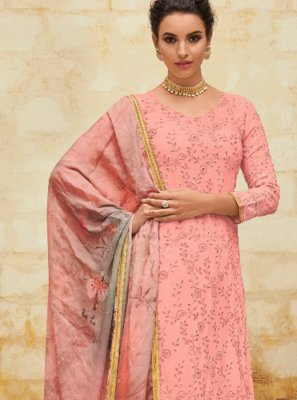 Digital Print Georgette Pink Salwar Suit