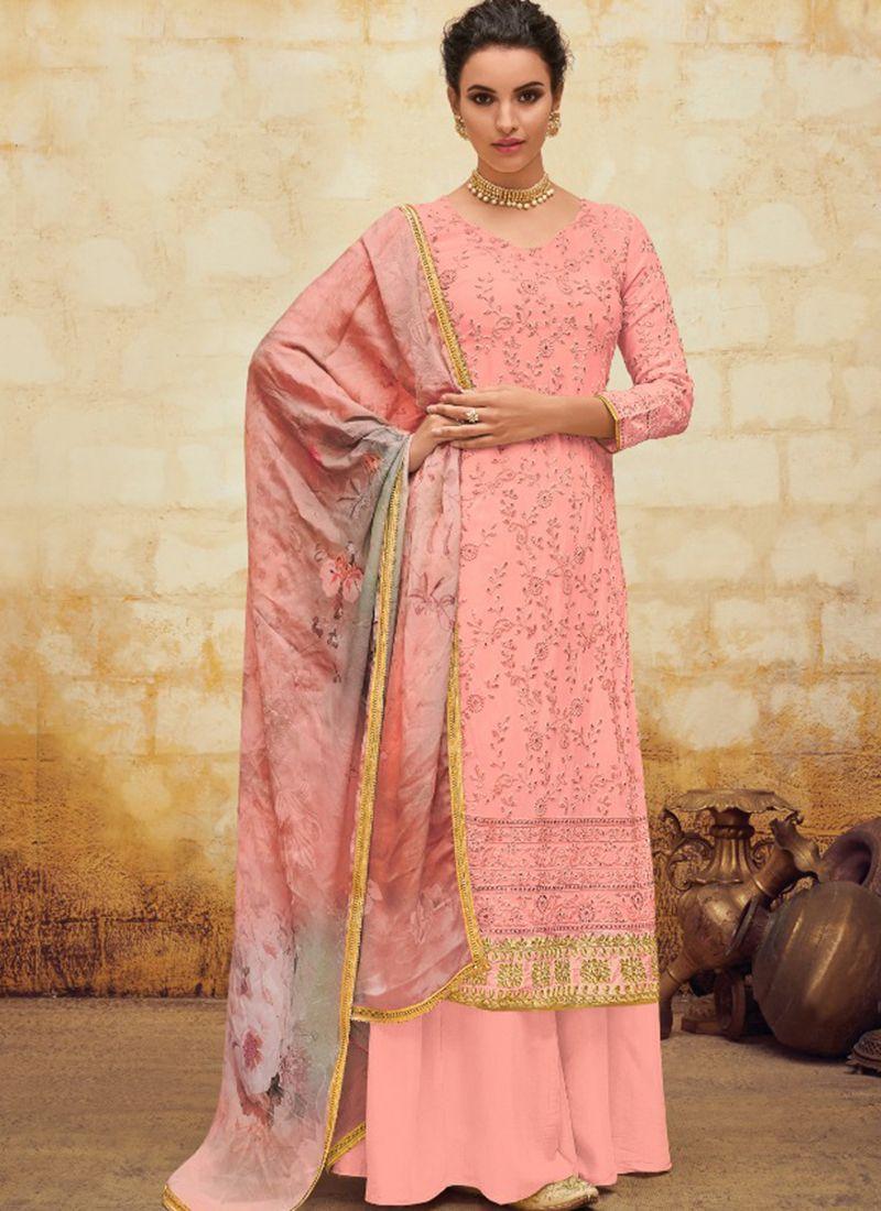 Digital Print Georgette Pink Salwar Suit