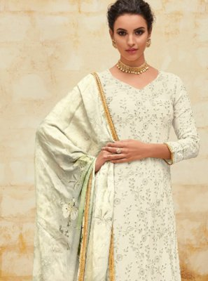 Digital Print Georgette White Salwar Suit