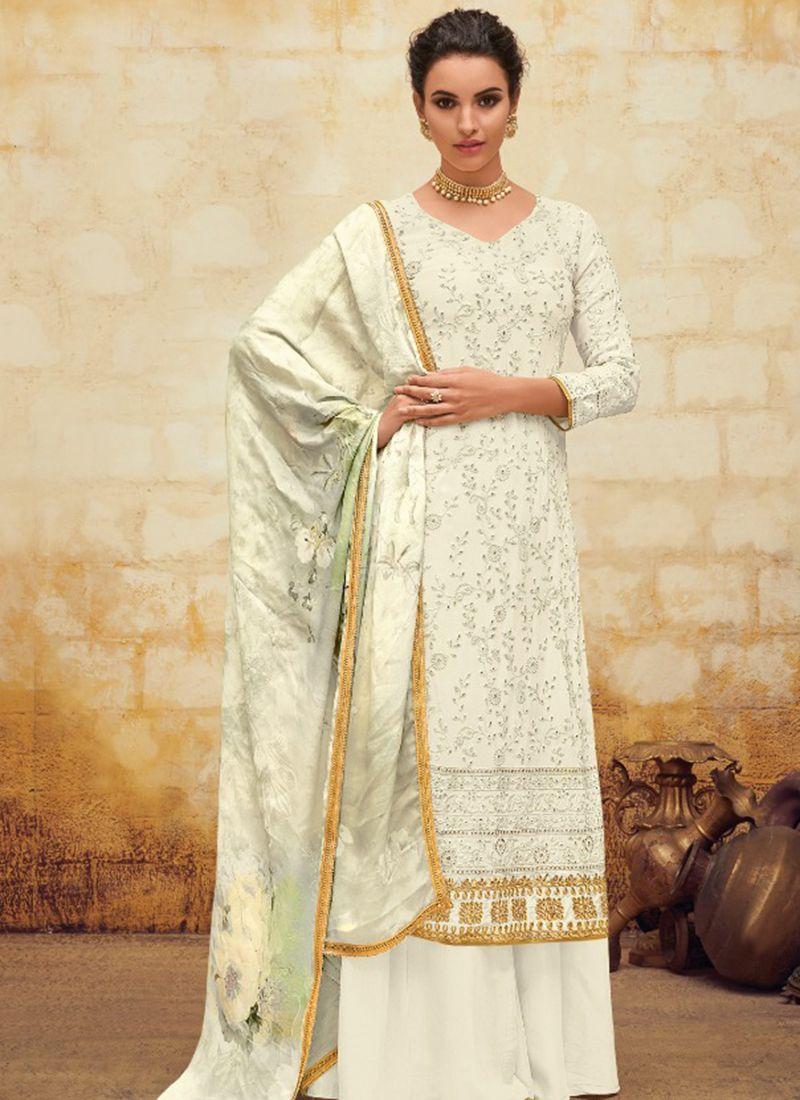 Digital Print Georgette White Salwar Suit