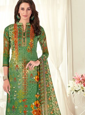 Digital Print Green Cotton Palazzo Designer Salwar Kameez