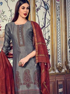 Digital Print Grey Designer Salwar Kameez