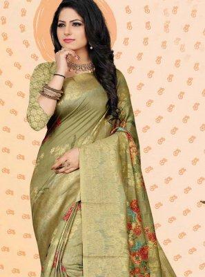 Digital Print Jacquard Green Designer Traditional Saree