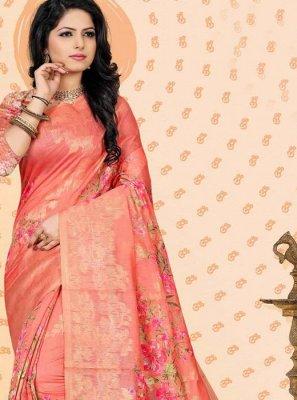 Digital Print Jacquard Pink Traditional Designer Saree