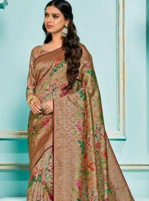 Digital Print Jacquard Silk Classic Saree in Brown