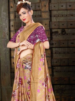 Digital Print Linen Brown Traditional Saree