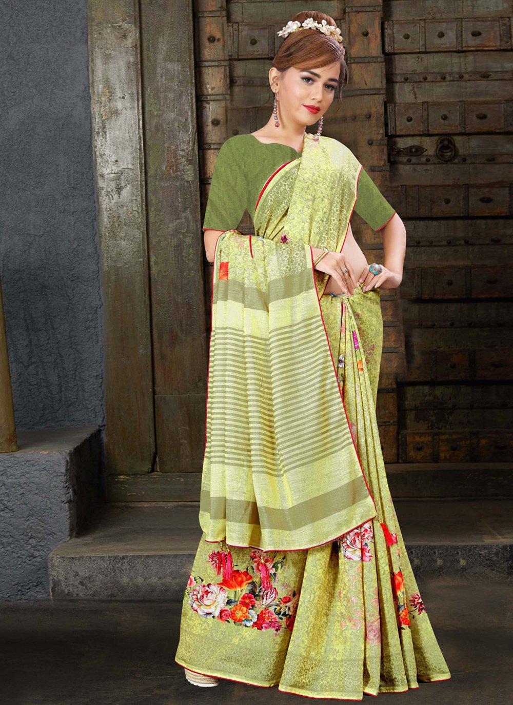 Digital Print Linen Contemporary Saree in Yellow