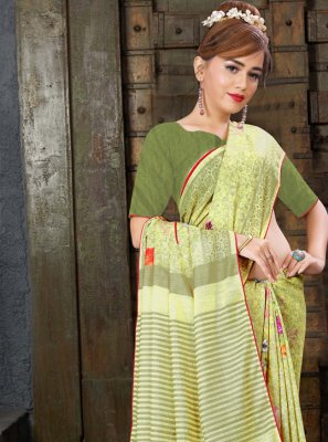 Digital Print Linen Contemporary Saree in Yellow