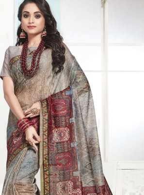Digital Print Multi Colour Designer Traditional Saree