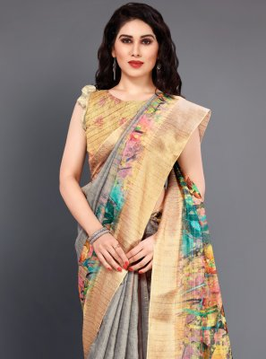 Digital Print Multi Colour Silk Classic Saree