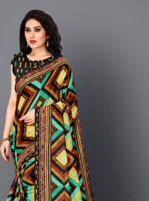 Digital Print Multi Colour Trendy Saree