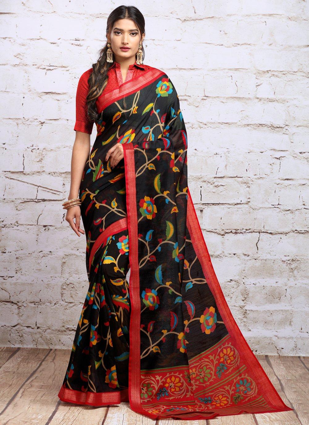 Digital Print Navy Blue Silk Traditional Saree