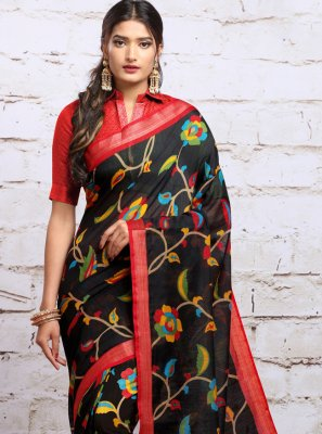 Digital Print Navy Blue Silk Traditional Saree
