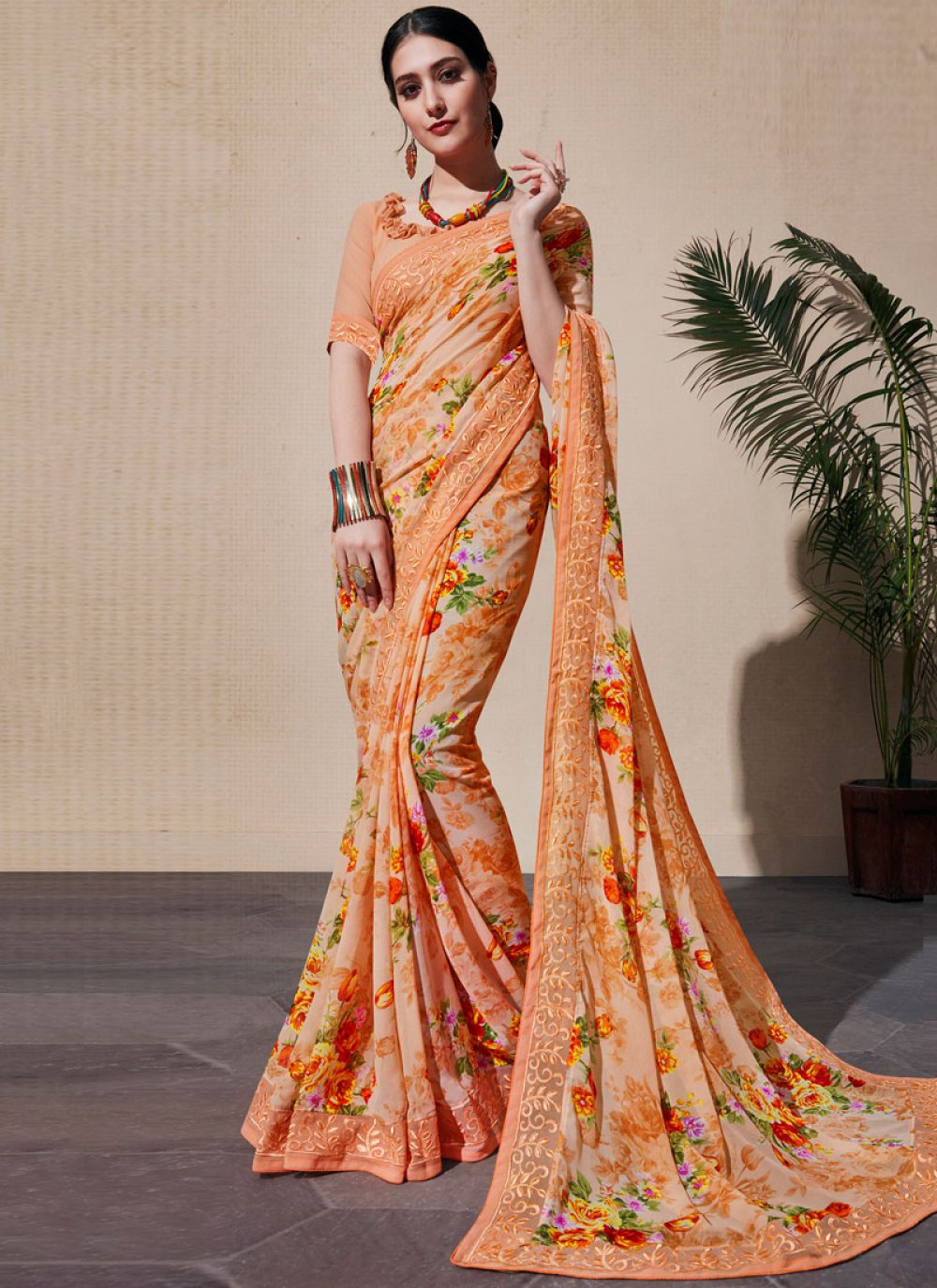 Digital Print Orange Casual Saree