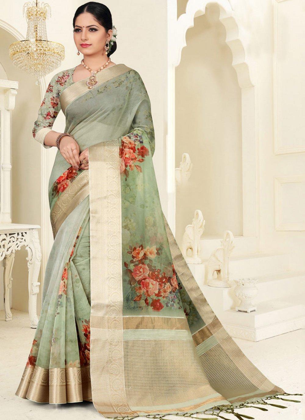 Digital Print Organza Green Silk Saree