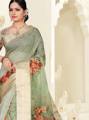 Digital Print Organza Green Silk Saree