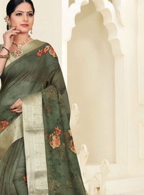 Digital Print Organza Silk Saree in Green