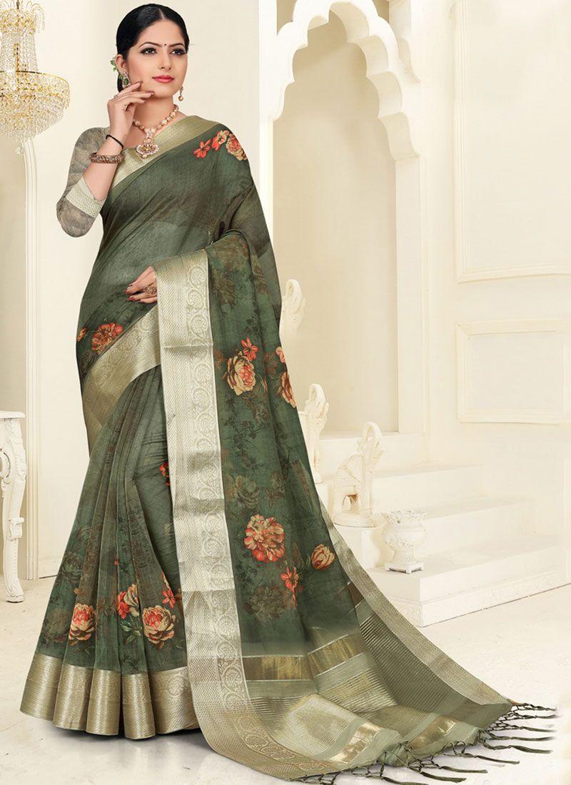 Digital Print Organza Silk Saree in Green