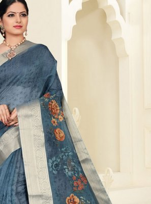 Digital Print Organza Silver Silk Saree