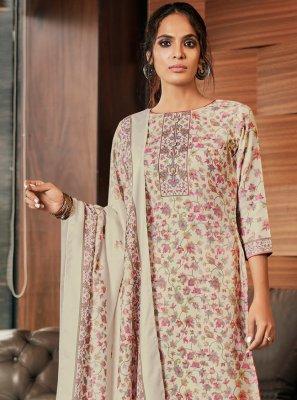 Digital Print Pashmina Cream Salwar Kameez