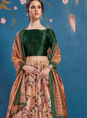Digital Print Peach A Line Lehenga Choli