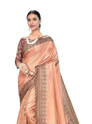 Digital Print Peach Art Silk Printed Saree