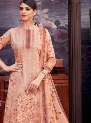 Digital Print Peach Cotton Palazzo Suit
