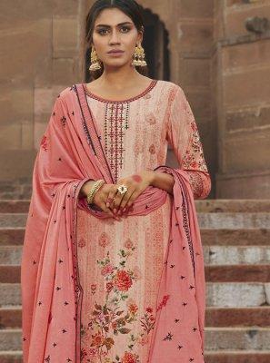 Digital Print Peach Designer Palazzo Salwar Suit
