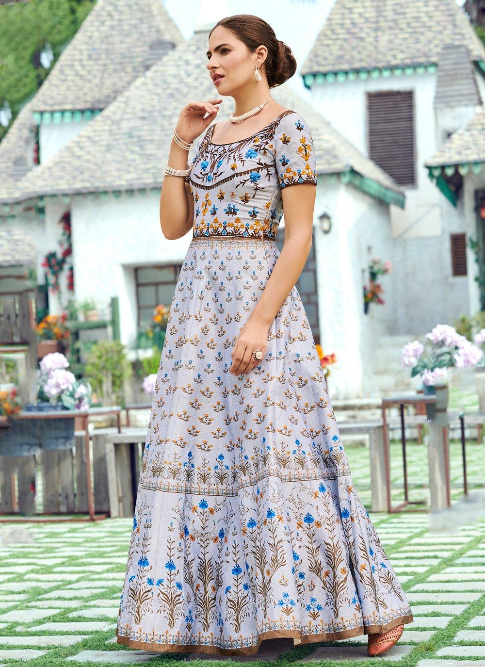 Digital Print Purple Silk Designer Gown