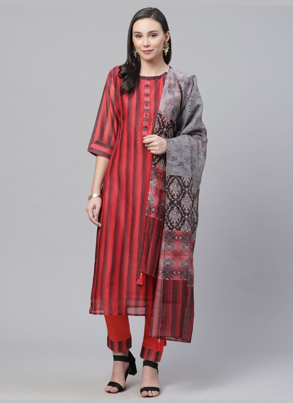 Digital Print Red Chanderi Designer Salwar Suit