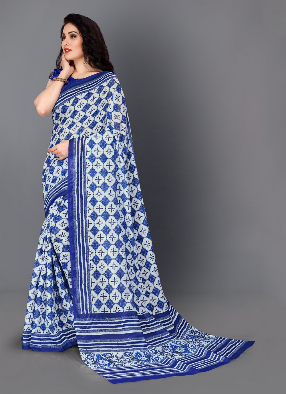 Digital Print Silk Blue Trendy Saree