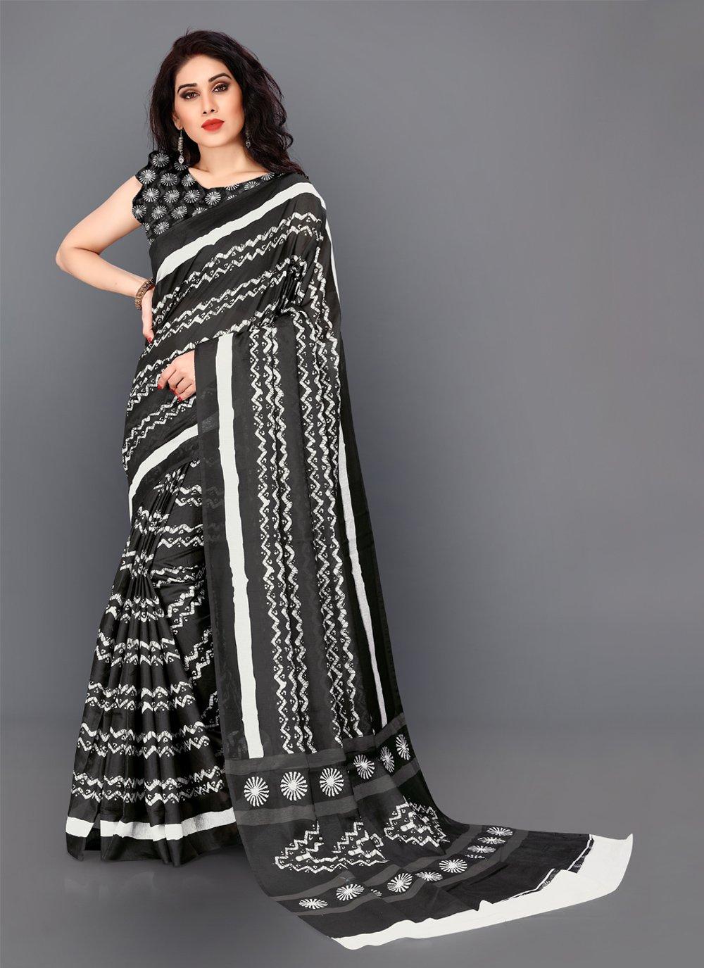 Digital Print Silk Classic Saree in Black
