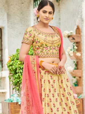 Digital Print Silk Cream A Line Lehenga Choli