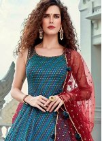 Digital Print Silk Designer Gown in Blue