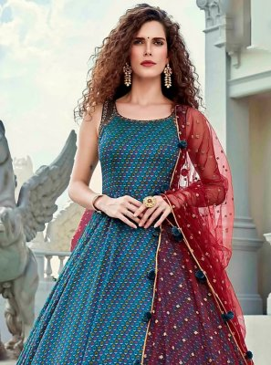 Digital Print Silk Designer Gown in Blue