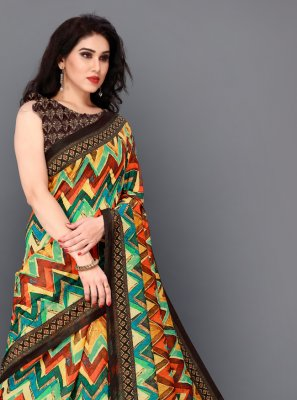 Digital Print Silk Multi Colour Trendy Saree