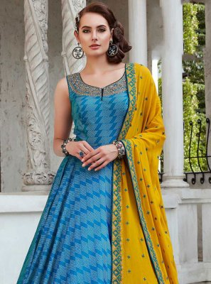 Digital Print Silk Readymade Trendy Gown
