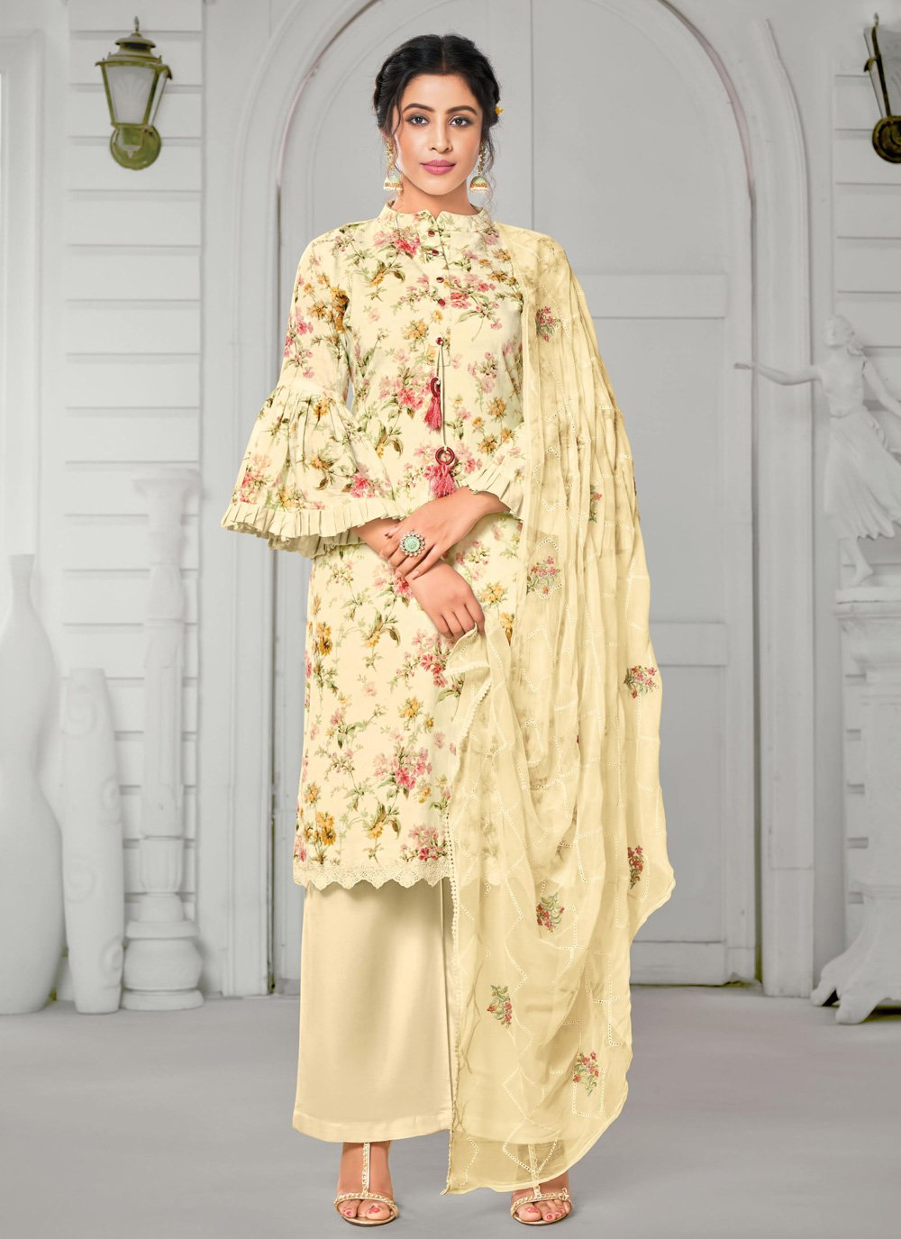 Digital Print Straight Salwar Kameez