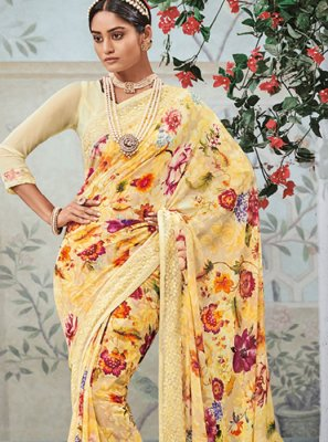Digital Print Yellow Casual Saree