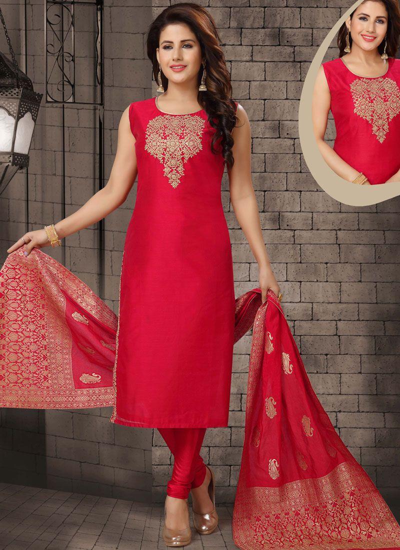 Dori Work Bhagalpuri Silk Salwar Suit in Red