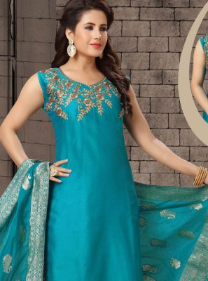 Dori Work Blue Salwar Suit