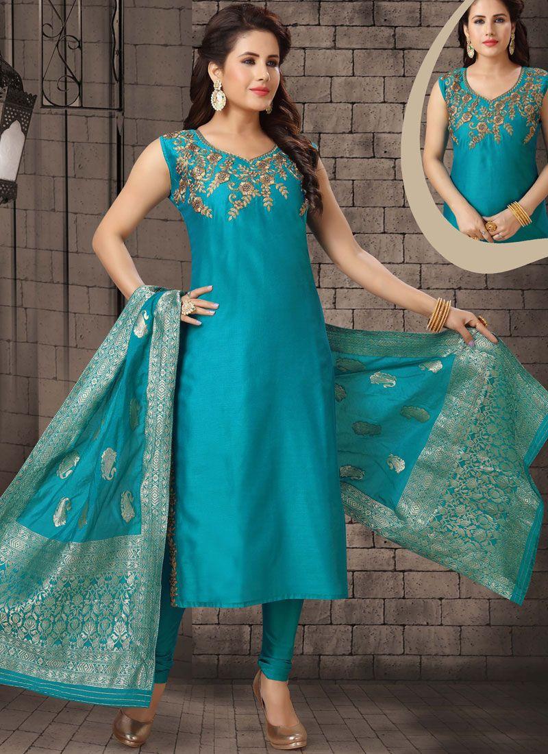 Dori Work Blue Salwar Suit