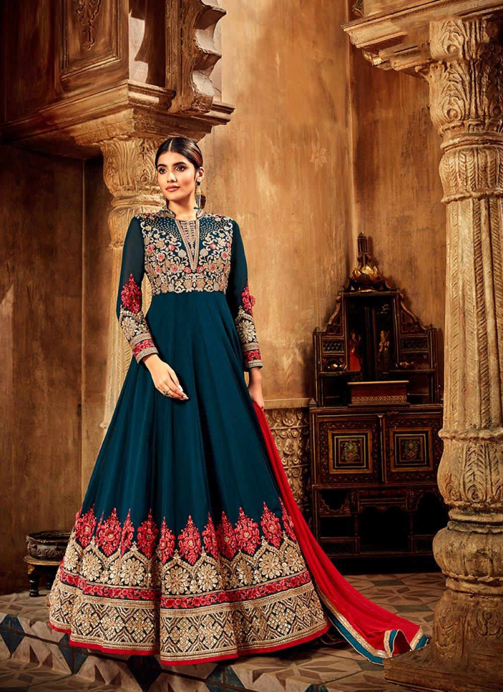 Dori Work Chiffon Satin Navy Blue Anarkali Suit