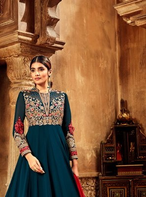 Dori Work Chiffon Satin Navy Blue Anarkali Suit