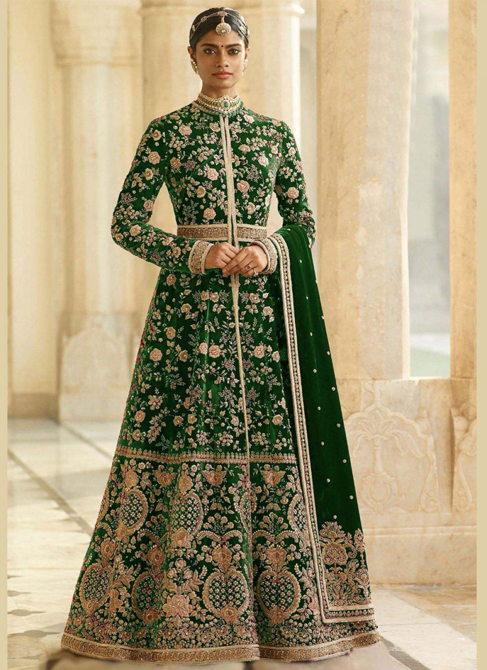 Dori Work Green Anarkali Suit