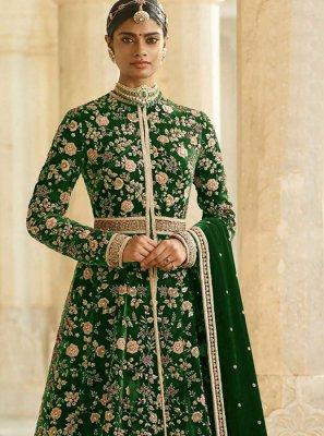 Dori Work Green Anarkali Suit